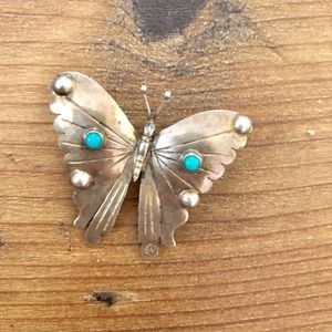 925 Silver Butterfly with small turquoise accents